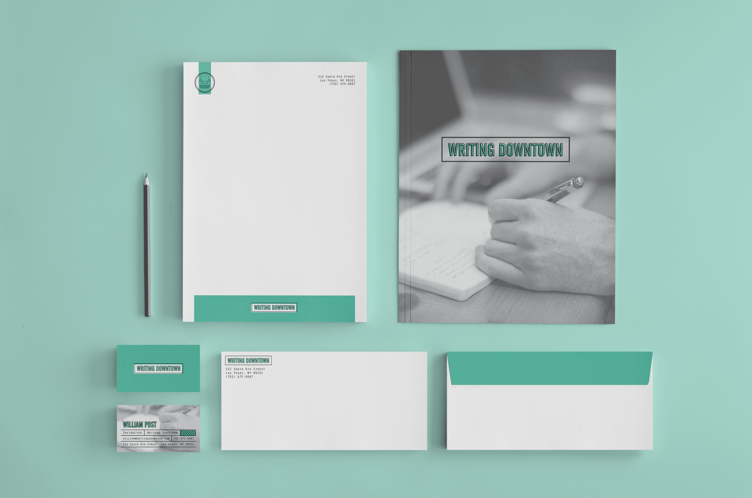 choosing one identifying color as an accent to brighten up a design can change the whole mood of a letterhead here a minty turquoise gives