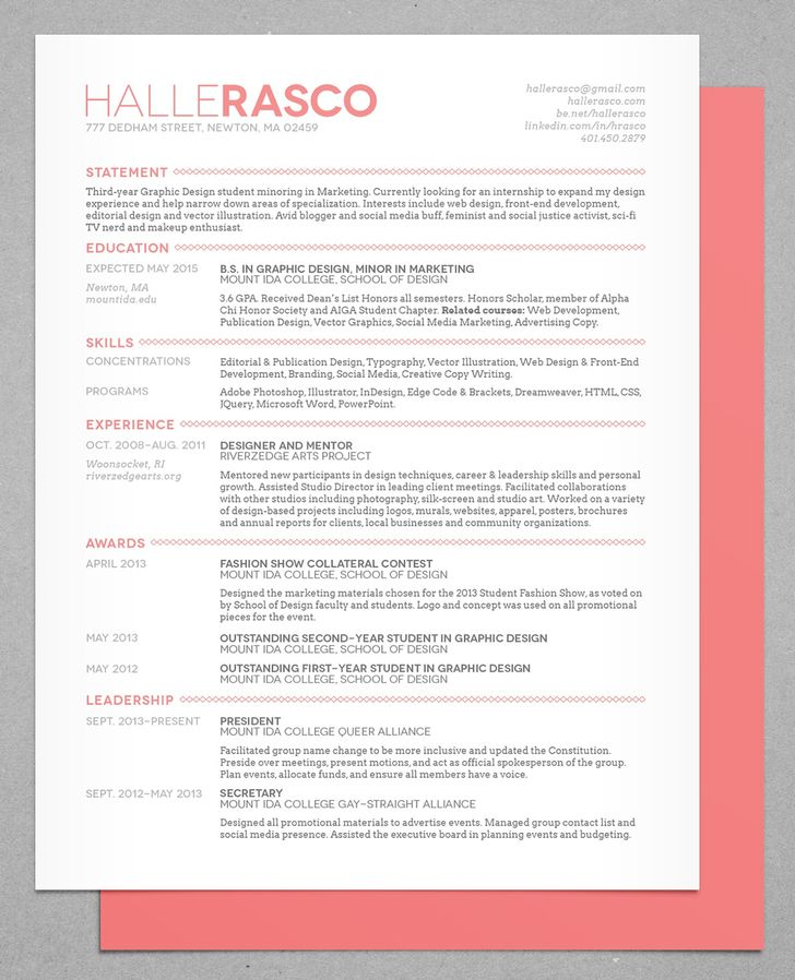 unique resume design