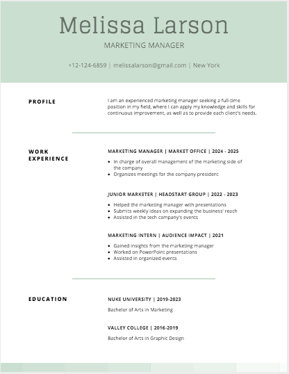 Moss Green Simple Resume
